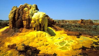 Инопланетный ландшафт вулканического кратера Даллол