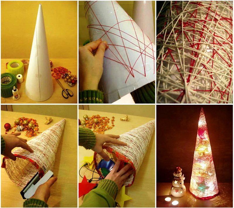 Сделать елку из ниток