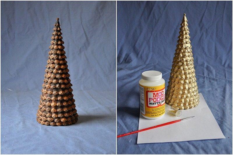 Сделать елку из шишек