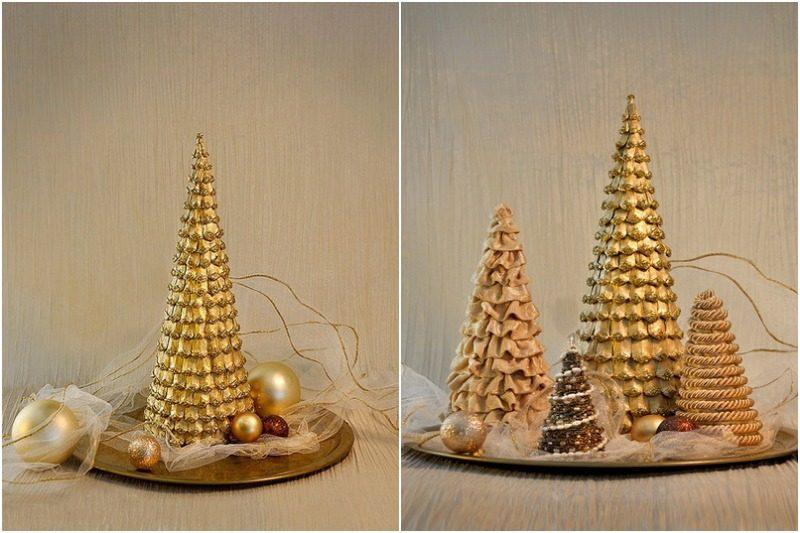 Золотая елка из шишек