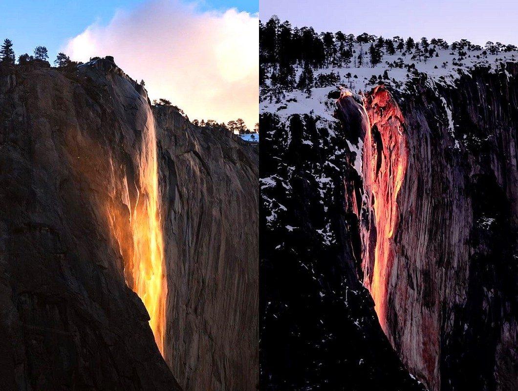 Знаменитый огненный водопад «Лошадиный хвост» вернулся всего на пару недель