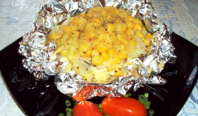 Филе рыбы запеченное в духовке с кукурузой «Золотая рыбка»