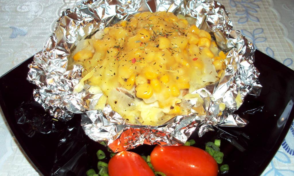 Филе рыбы запеченное в духовке с кукурузой