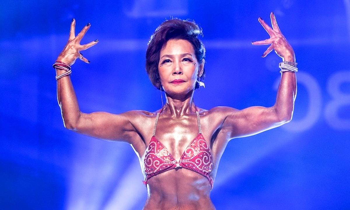 75-летняя бабушка из Кореи заняла 2-е место в соревнованиях по бодибилдингу