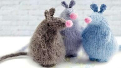Новогодние игрушки своими руками — вязаные мышки и крысы 2020