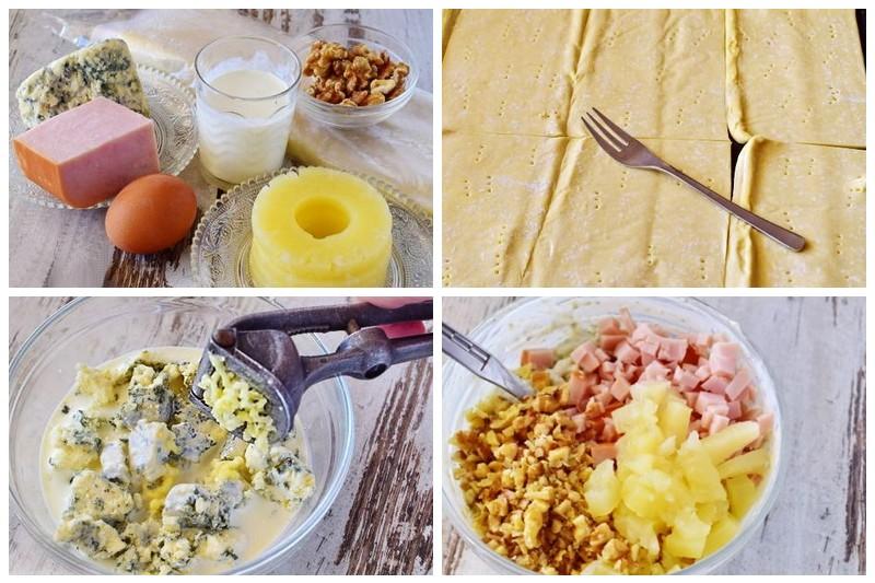 Закусочный торт «Наполеон» с сыром, ветчиной и ананасом