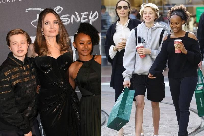 Анджелина Джоли с дочками Захарой и Шайло