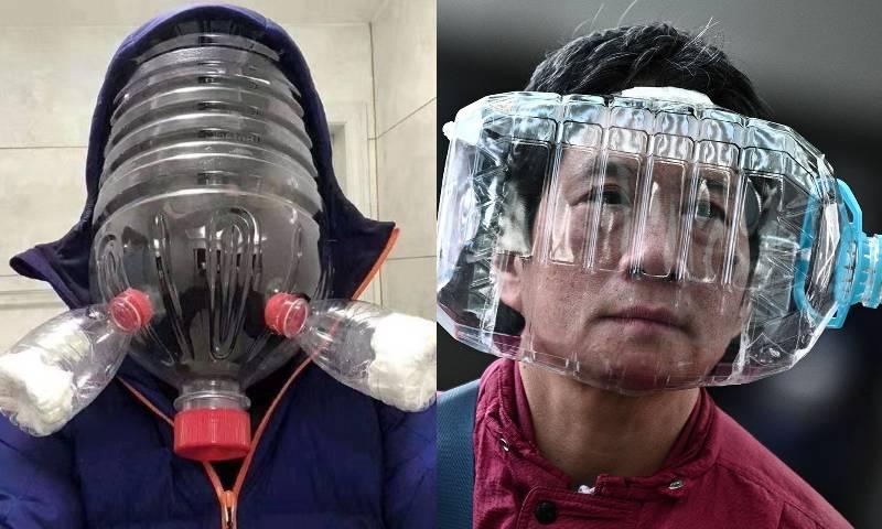Пластиковая бутыль на лице в Китае