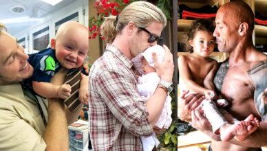 Милые фото знаменитых пап с детьми