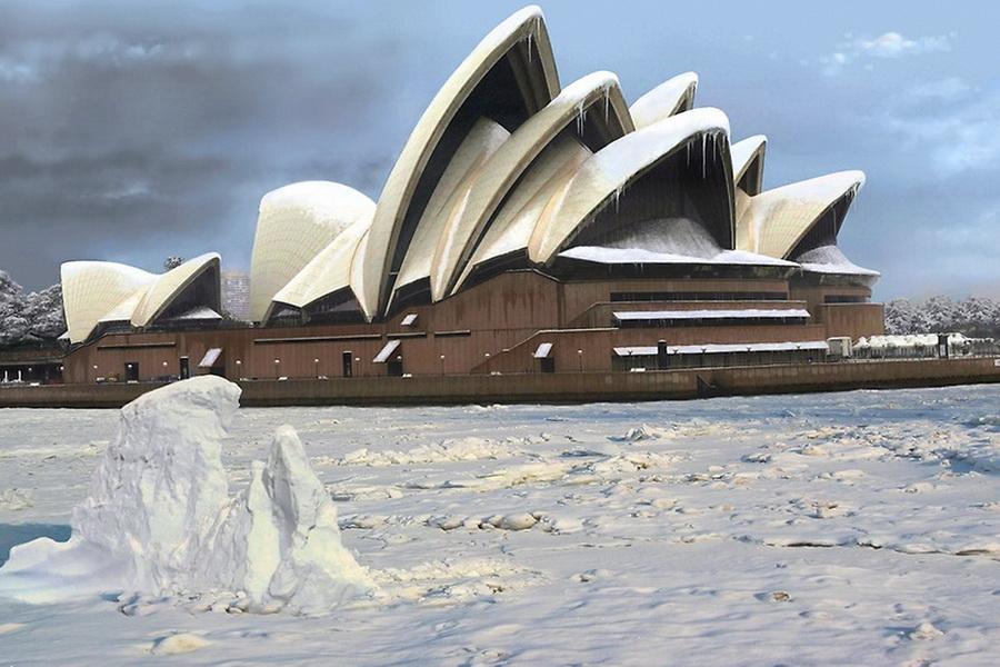Сиднейский оперный театр зимой
