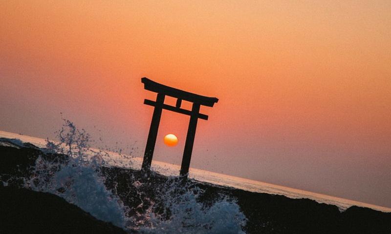 Пейзаж солнце Япония