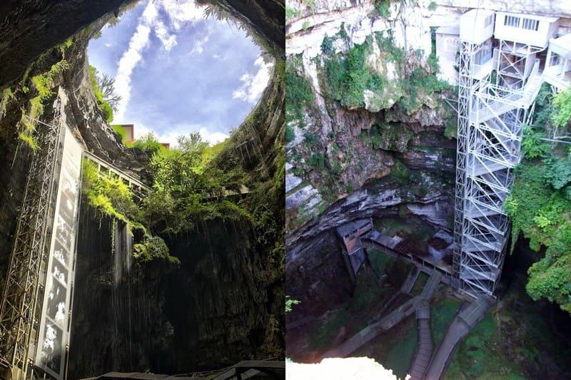 Ступени и лифт в пещеру