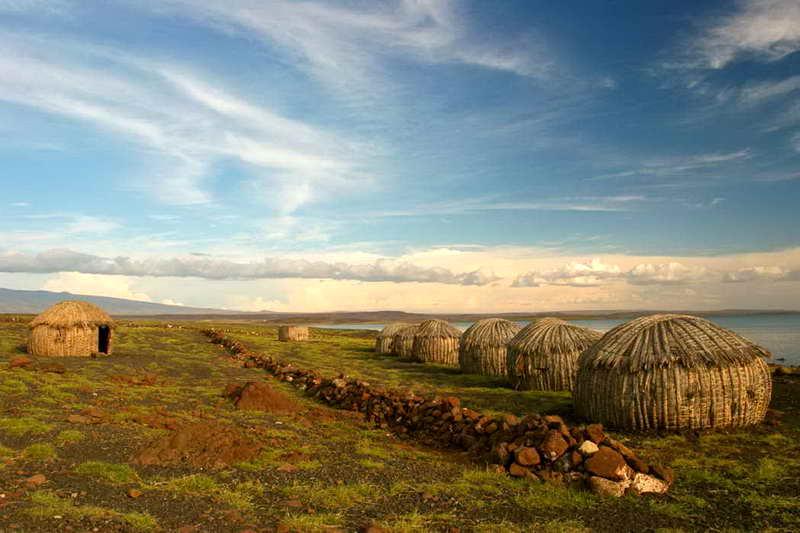 Дома на острове в Кении